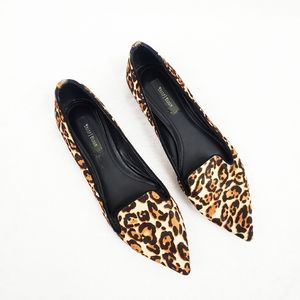 WHBM Haircalf Leopard Print Pointed Loafer Flats